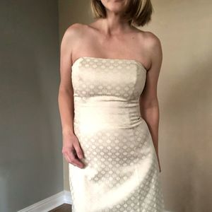 WHBM Gold Strapless Dress
